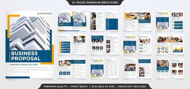Modelo de design de proposta de negócios com estilo minimalista e clean