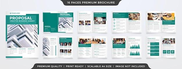 Modelo de design de proposta de negócios de estilo limpo com layout moderno e conceito minimalista