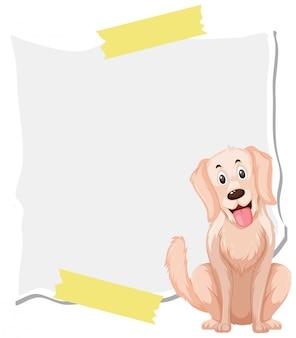Modelo de design de quadro com cachorro feliz