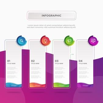 Modelo de design de quatro elementos de retangular colorido infográfico