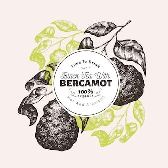 Modelo de design de ramo de bergamota. quadro de limão kaffir. ilustração tirada mão da fruta do vetor. fundo de citrino retrô estilo gravado.