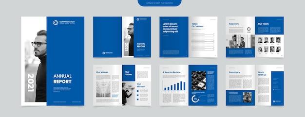Modelo de design de relatório anual azul moderno