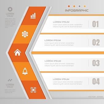 Modelo de design de seta de infográficos com ícones de negócios