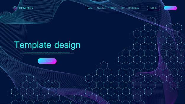 Modelo de design de site com padrão hexagonal de ondas dinâmicas coloridas