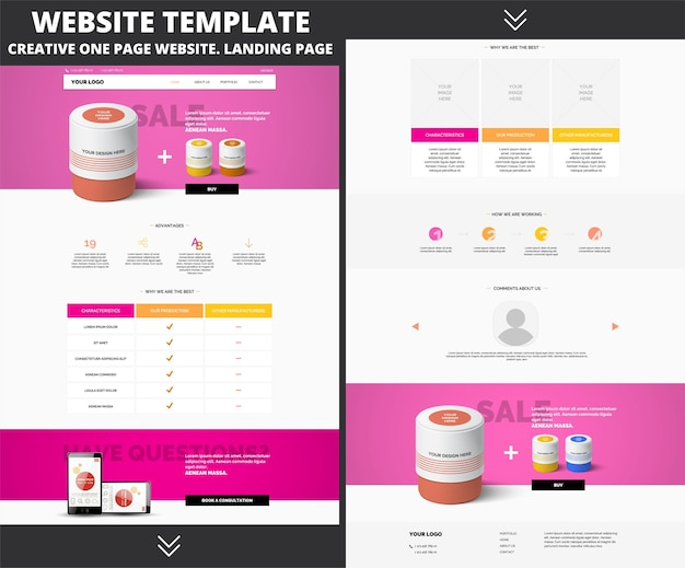 Modelo de design de site para sua empresa nas cores rosa e laranja