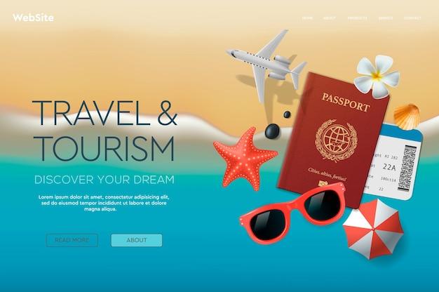 Modelo de design de site sobre o tema viagens,