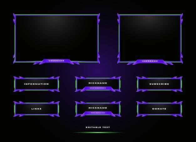 Modelo de design de sobreposição de painel de streaming de twitch