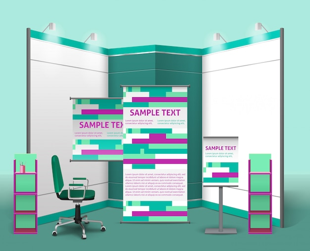 Modelo de design de stand de exposição