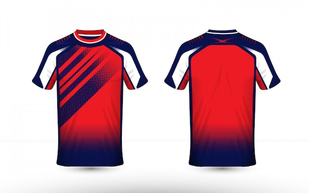 Modelo de design de t-shirt azul, branco e laranja layout e-sport