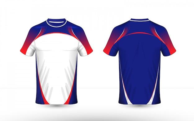 Modelo de design de t-shirt azul, branco e vermelho layout e-sport