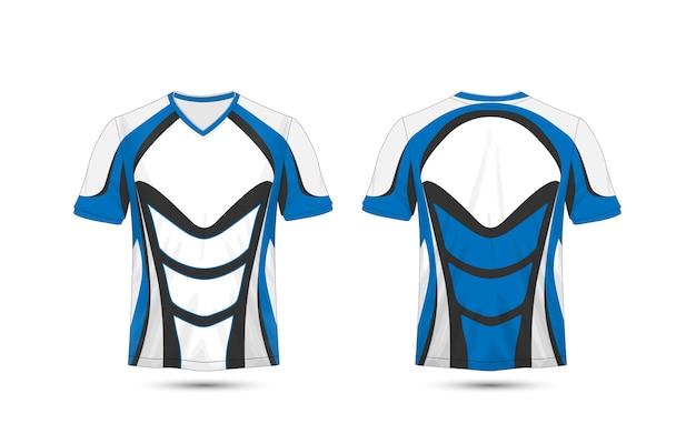 Modelo de design de t-shirt de e-sport de layout azul e preto
