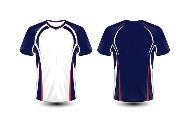 Modelo de design de t-shirt de e-sport de layout azul, vermelho e branco
