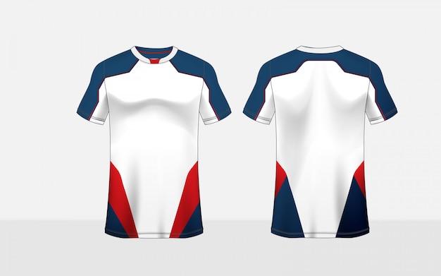 Modelo de design de t-shirt de e-sport de layout de padrão azul, vermelho e branco
