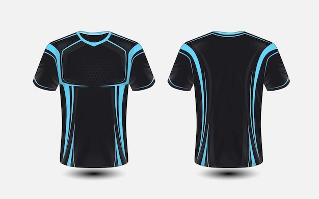 Modelo de design de t-shirt de e-sport de layout preto e azul