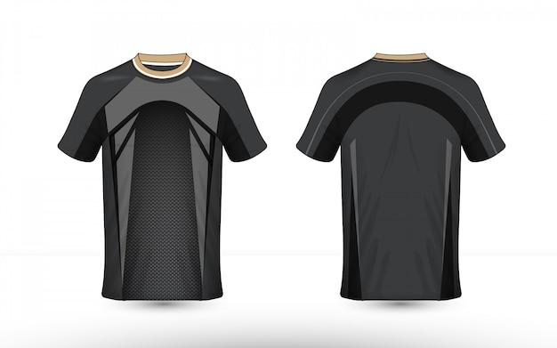 Modelo de design de t-shirt de e-sport de layout preto e cinza