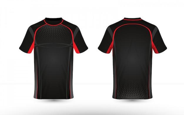 Modelo de design de t-shirt de e-sport de layout preto e vermelho