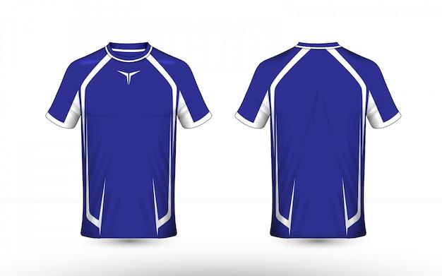 Modelo de design de t-shirt de e-sport layout azul e branco