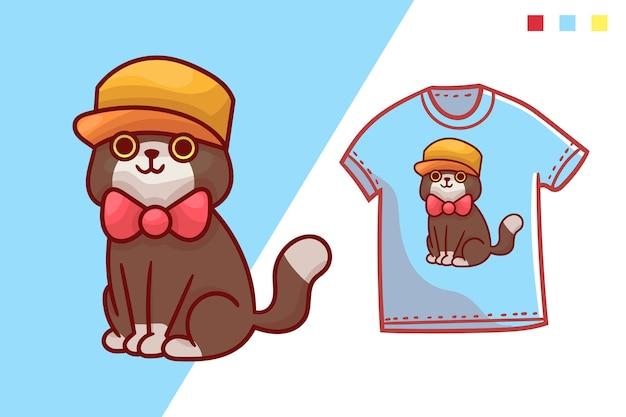 Modelo de design de t-shirt de gato fofo