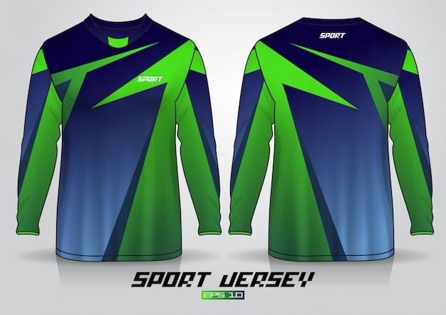 Modelo de design de t-shirt de manga comprida, frente uniforme e vista traseira. vetor