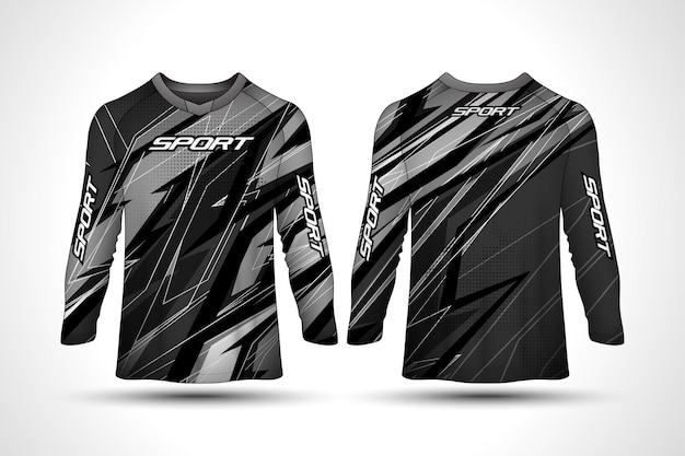Modelo de design de t-shirt de manga comprida, jérsei de motociclismo de desporto de corrida, design de camisa Vetor Premium
