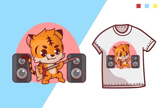Modelo de design de t-shirt de tigre fofo