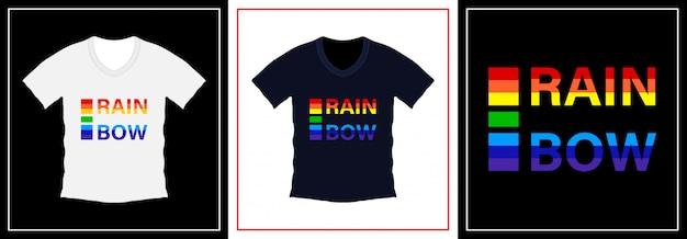 Modelo de design de t-shirt de tipografia arco-íris