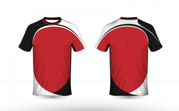 Modelo de design de t-shirt e-sport preto branco e vermelho layout