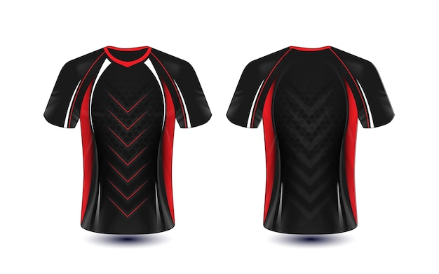 Modelo de design de t-shirt e-sport preto vermelho e branco de layout