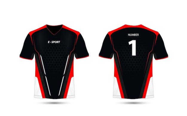 Modelo de design de t-shirt preto, vermelho e branco layout e-esporte.