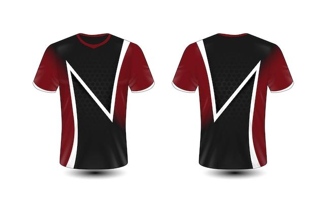 Modelo de design de t-shirt preto, vermelho e branco layout e-sport