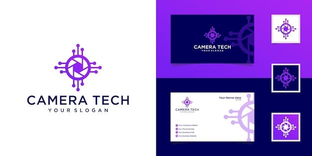 Modelo de design de tecnologia de câmera de obturador e cartão de visita