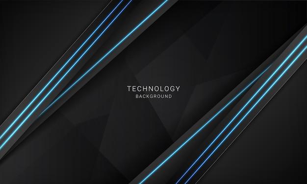 Modelo de design de tecnologia moderna de layout abstrato metálico preto com luz azul neon