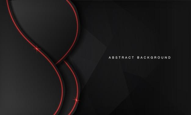 Modelo de design de tecnologia moderna de layout abstrato onda metálica preta com luz de néon vermelha