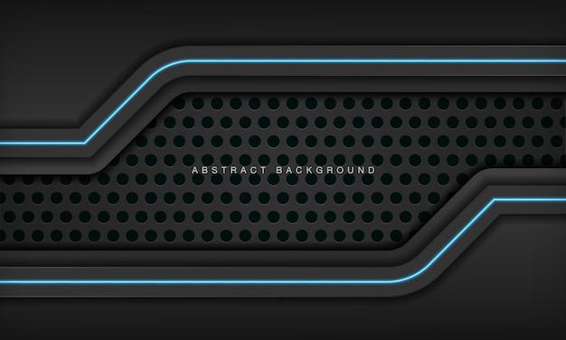 Modelo de design de tecnologia moderna de layout de moldura preta metálica abstrata com efeito de luz azul