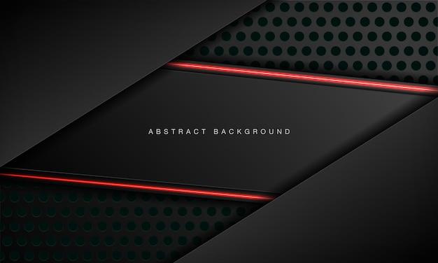 Modelo de design de tecnologia moderna de layout de moldura preta metálica abstrata com efeito neon