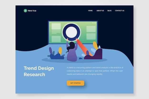 Modelo de design de tendência de página de destino