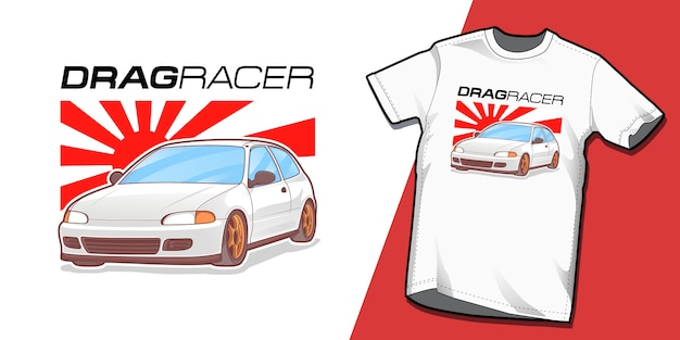 Modelo de design de tshirt de drag racer