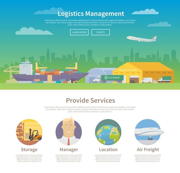 Modelo de design de uma página na web. logística.