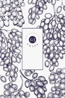 Modelo de design de uva. ilustração de mão desenhada uva berry. bandeira botânica retrô de estilo gravado.