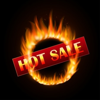 Modelo de design de venda ardente com anel em chamas em backgroud preto. design de grande venda com fogo
