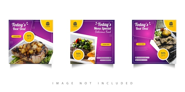 Modelo de design de venda de comida em redes sociais com gradações roxas