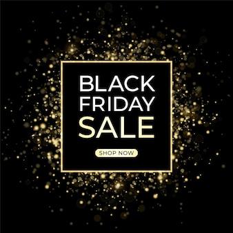 Modelo de design de venda de sexta-feira negra. fundo escuro e confetes dourados.
