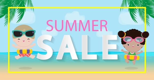 Modelo de design de venda de verão material promocional de banner de site