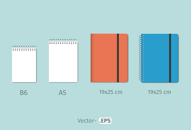 Modelo de design de vetor de caderno