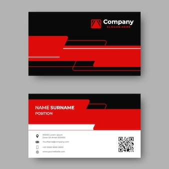 Modelo de design de vetor de cartão de visita profissional elegante vermelho e preto