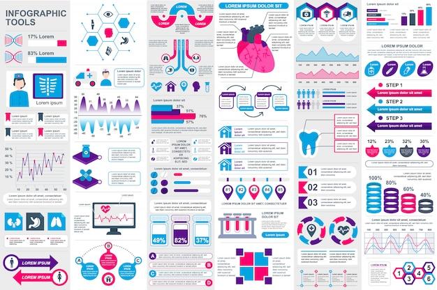 Modelo de design de vetor de elementos infográfico médica