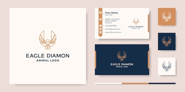Modelo de design de vetor de ícone de logotipo de águia diamante e cartão de visita