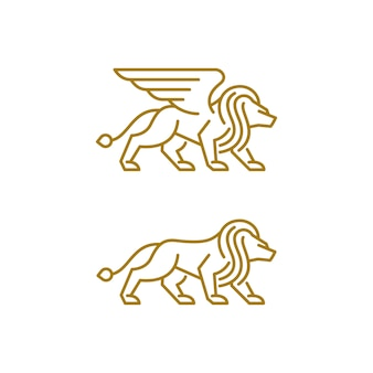 Modelo de design de vetor de ilustração abstrata leão luxo