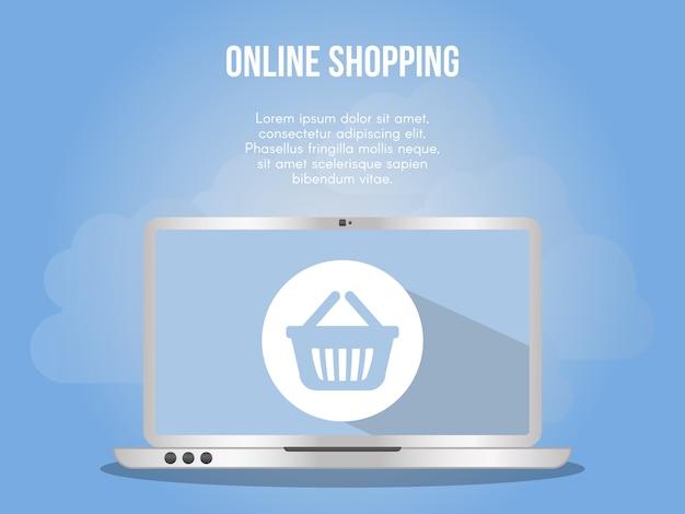 Modelo de design de vetor de ilustração de conceito de compras on-line