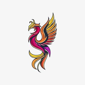Modelo de design de vetor de ilustração de linha phoenix